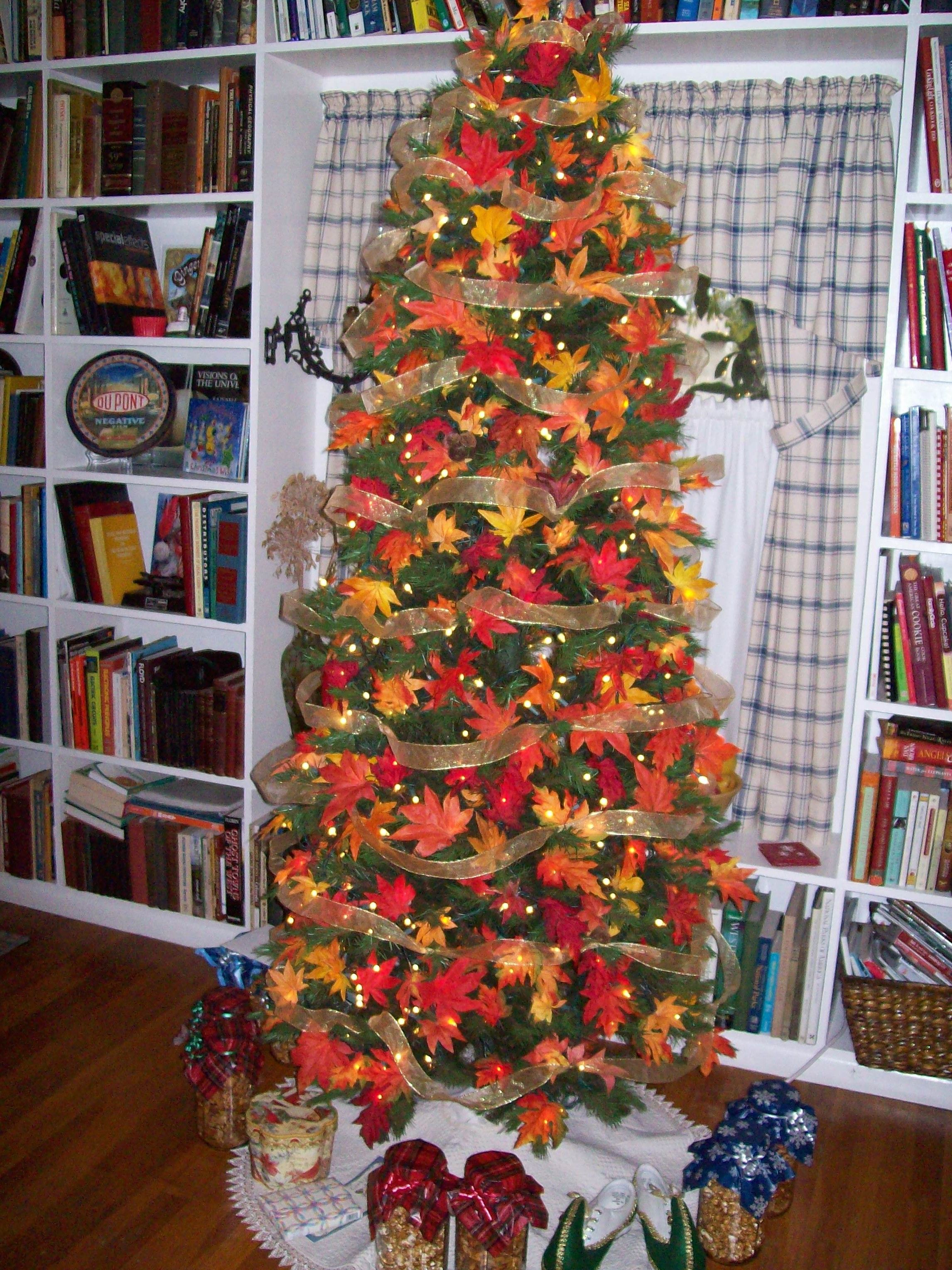 Christmas Tree with Fall leaves maybe add pumpkins Fall