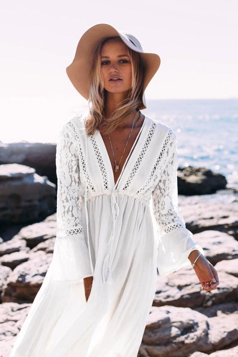 New White Lace Long Sleeves V Neck Boho Beach Women Dress Bohemian Spring Summer In 2020 Beach Wear Outfits White Lace Dress Boho Boho Sundress