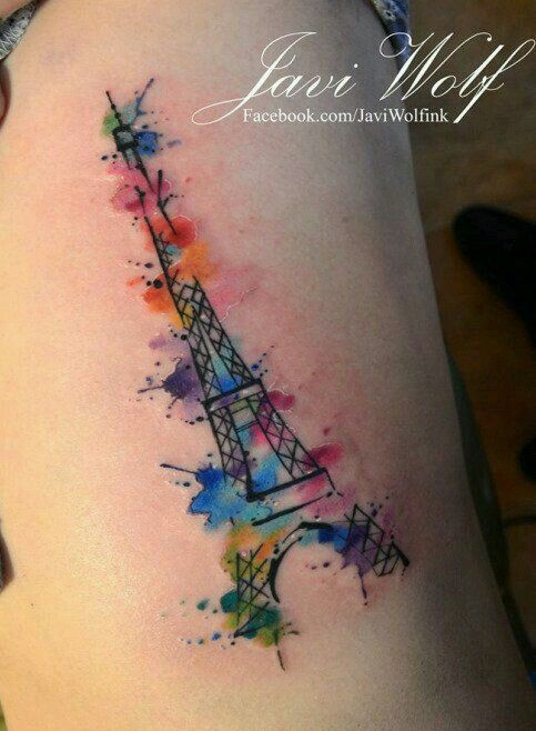 Watercolor Tattoo Eiffel Tower And Watercolor Combo Eiffel