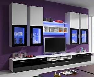 Ikea Tv Wall Units Lille Cabinets Modern Black White Living Room