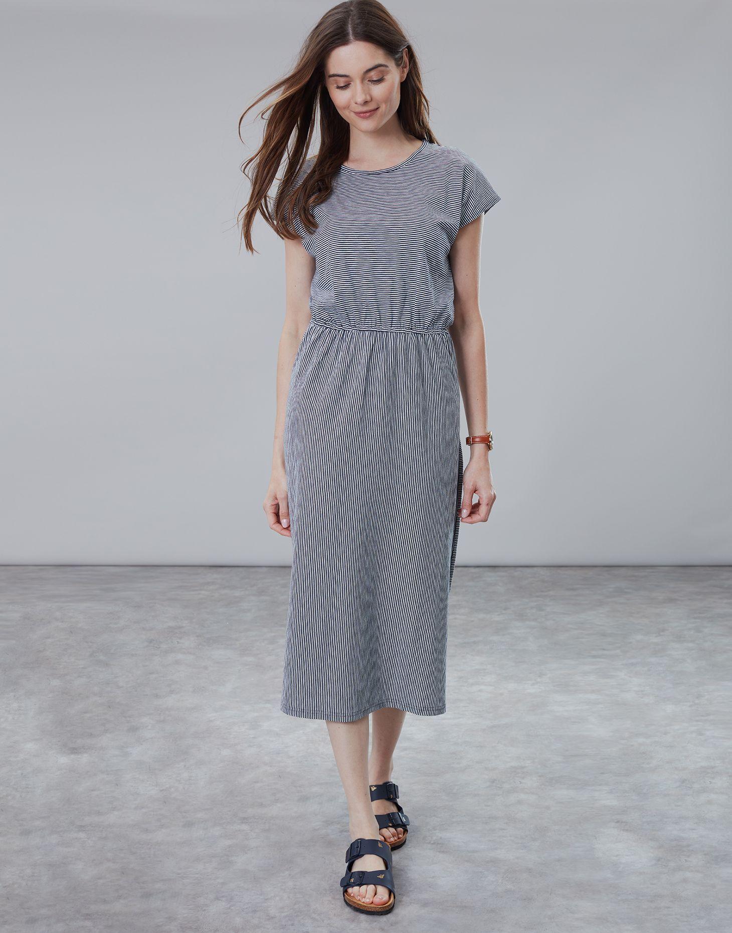 Alma Navy Cream Stripe Jersey Midi Dress Joules Uk Dresses Striped Jersey Dress Midi Dress