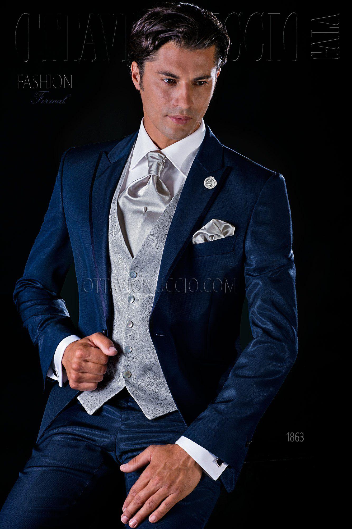 Blue wedding suit for groom peak lapel #tuxedo #dapper #elegance ...