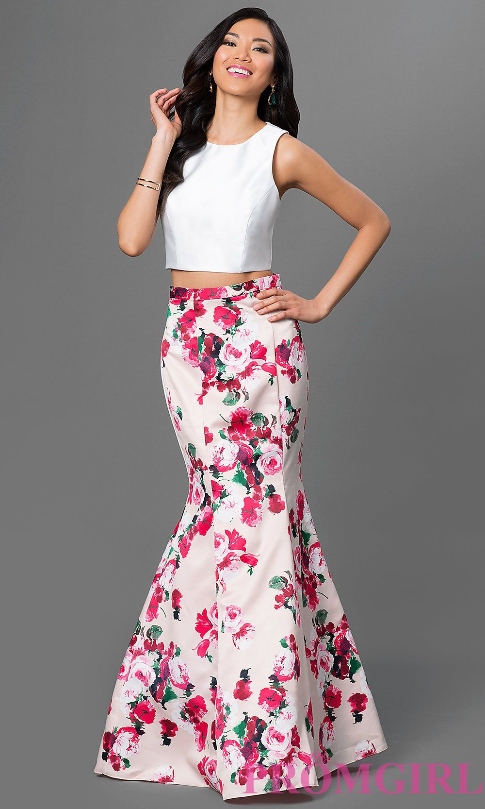 Image of long two-piece mermaid dress with sleeveless white top and ...