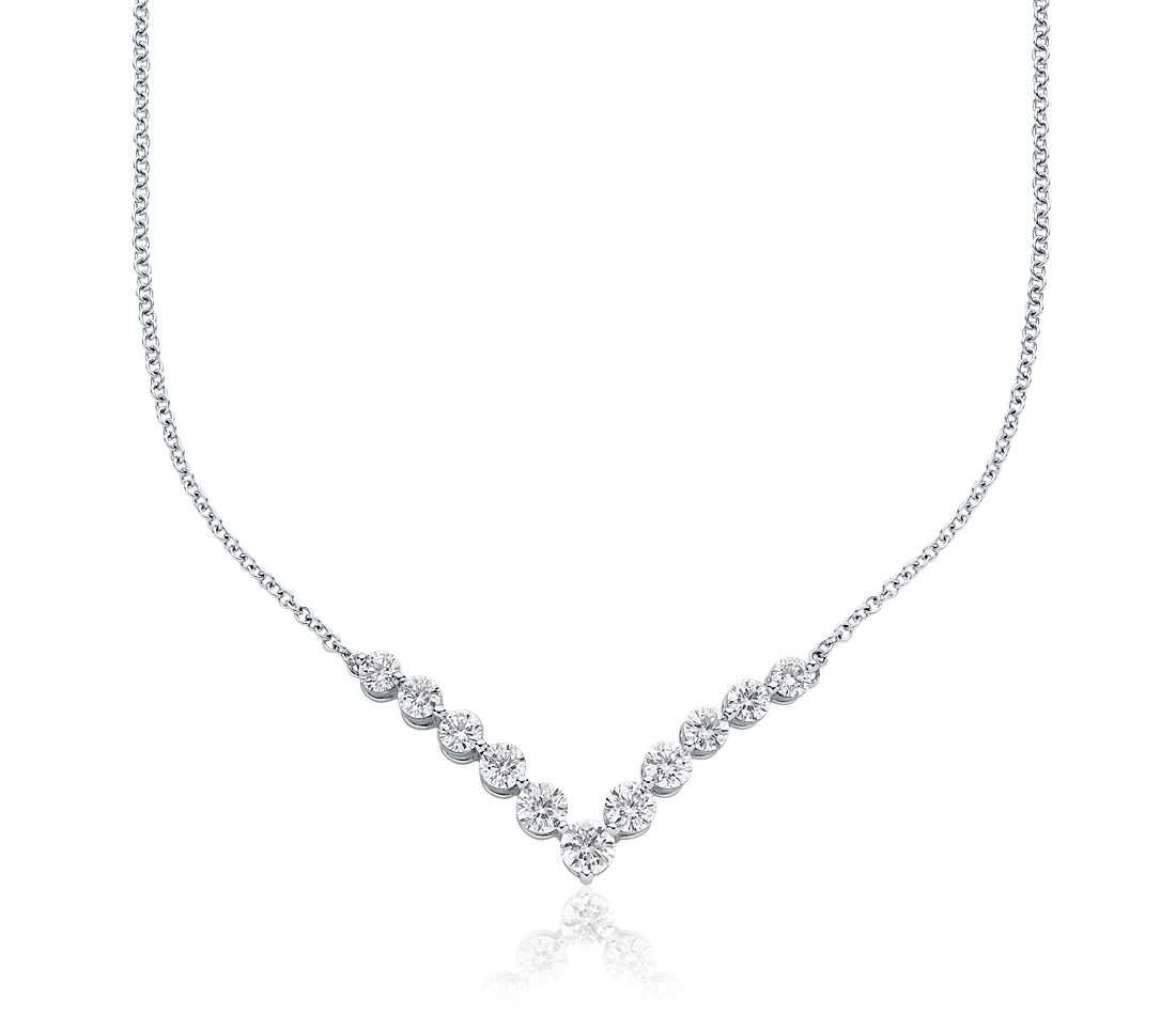Diamond Quot V Quot Necklace In 18k White Gold Click For Your