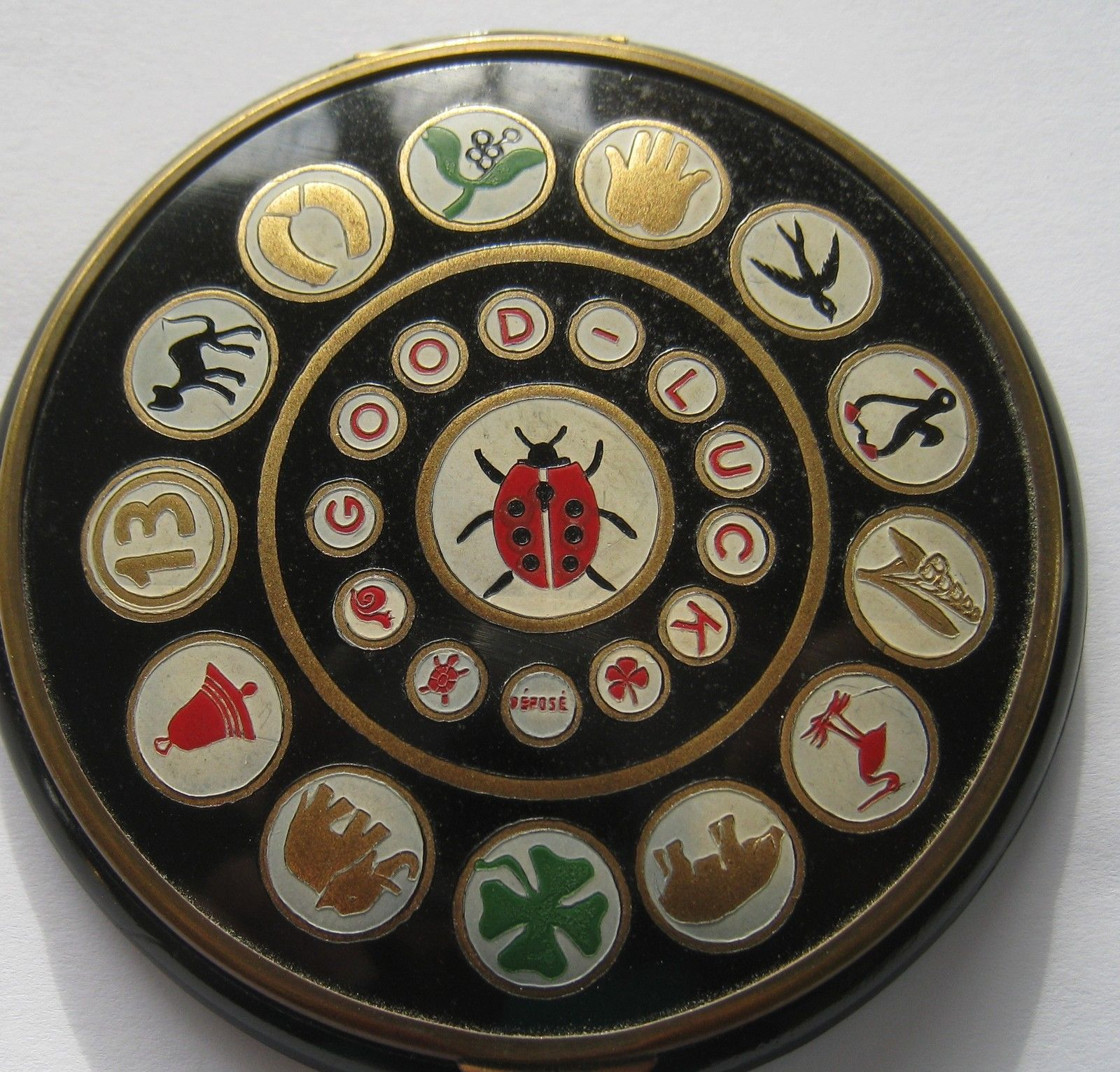 Vintage French Bakelite Compact Featuring Good Luck Symbols