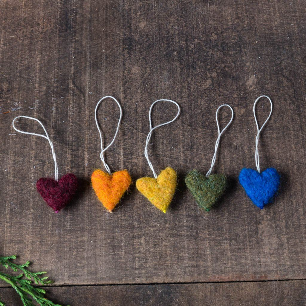 Rainbow Felted Wool Heart Ornaments - Set of 5
