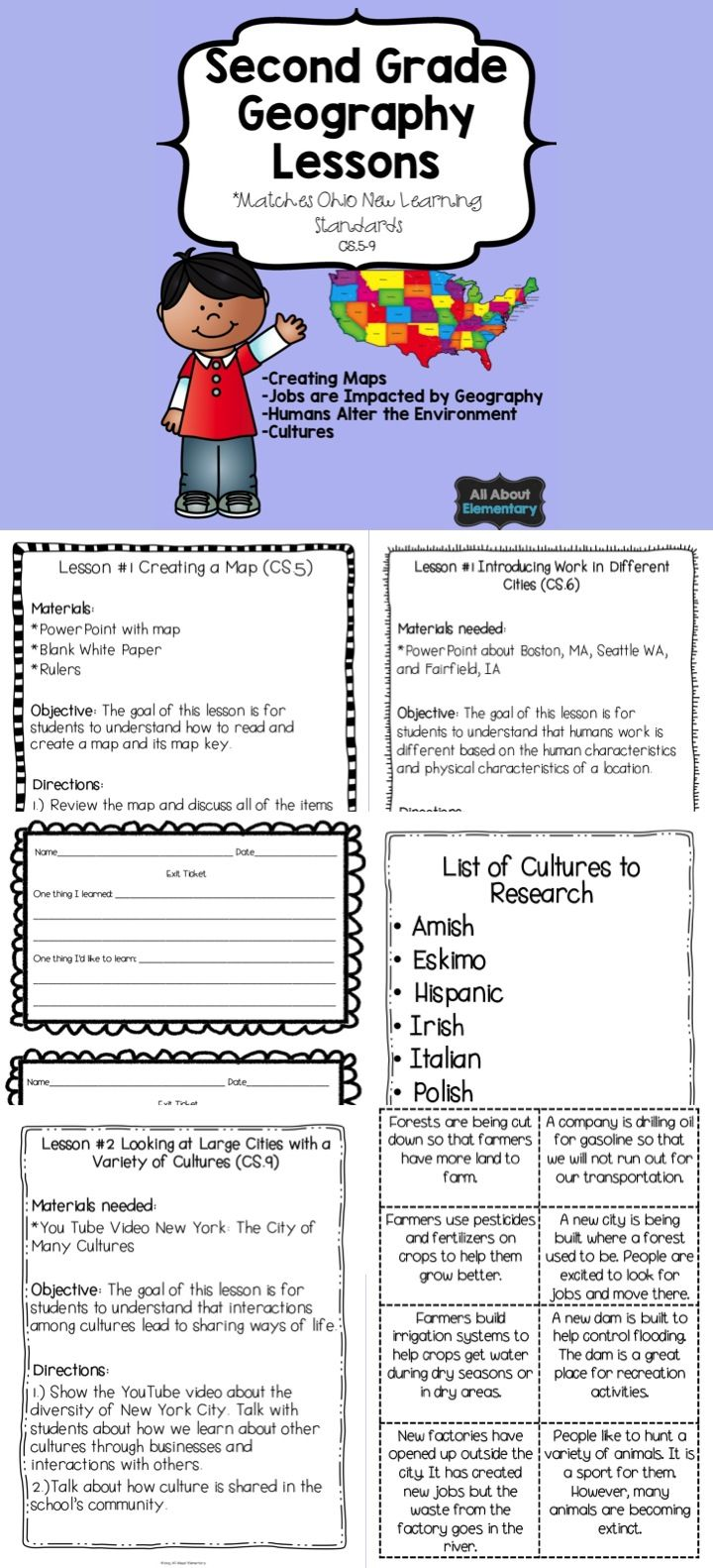 This Pack Contains 7 Activities To Learn About Ohio S New Learning Standards For Second Grade Geography Geography Lessons Social Studies Maps Second Grade