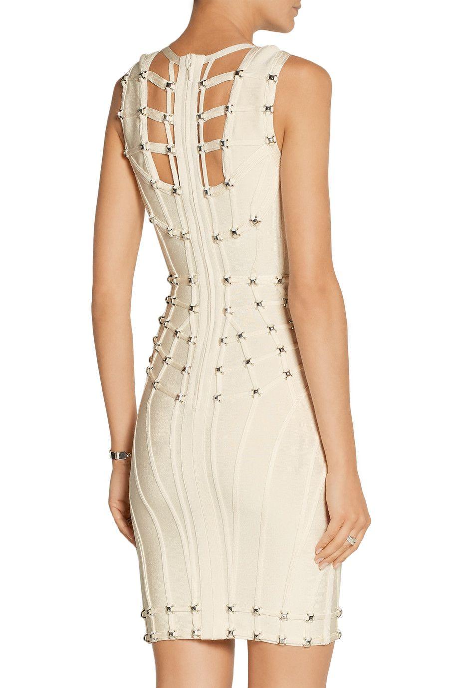 Cutout studded bandage mini dress hervé léger uk the outnet