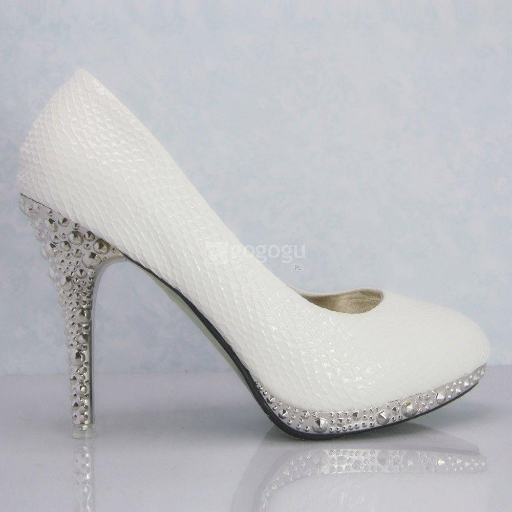 Biale Buty Na Obcasie Z Biale Buty Slubne Buty Slubne Weza Pumps Heels Stilettos Shoes Wedding Shoes