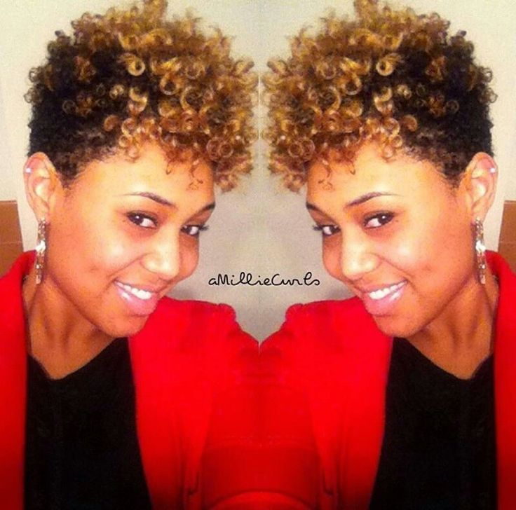 Glam natural hair updo black and blonde soft curly short hairstyles ...