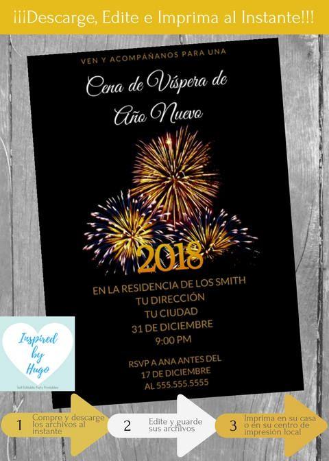Invitación Cena De Año Nuevo Nochevieja Invitación Cena