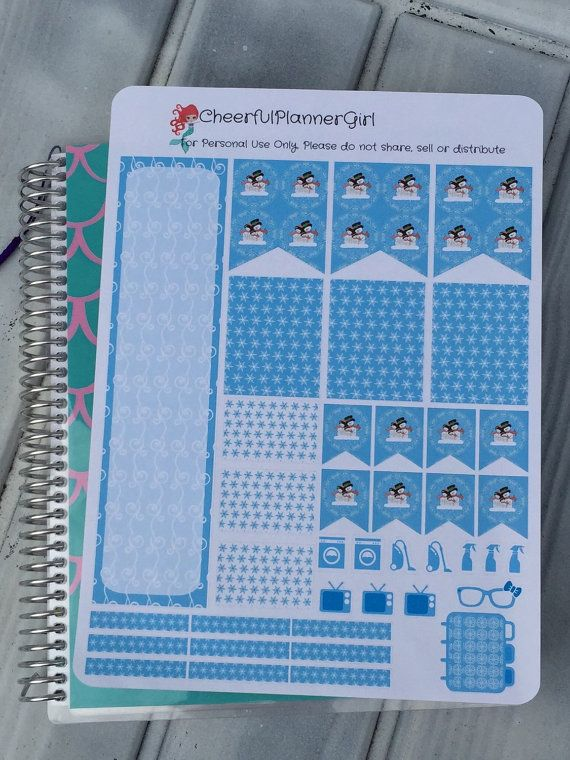Snow Fun Weekly Layout Kit 39 Stickers for by cheerfulplannergirl