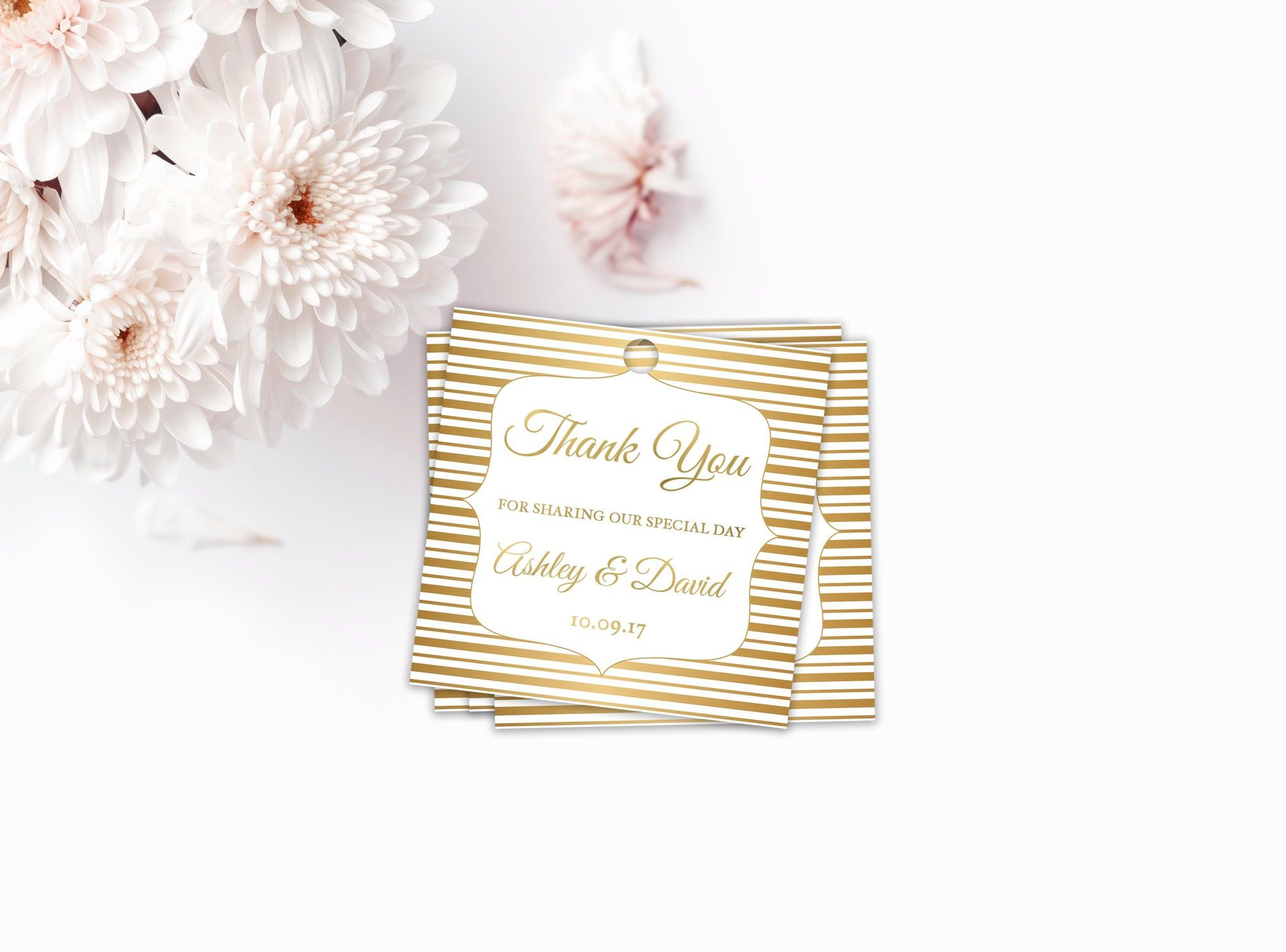 Personalized Gold Thank You Tags, Thank You Wedding Tags, Wedding ...
