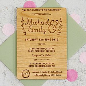 Floral Wooden Wedding Invitation - rustic autumn wedding styling
