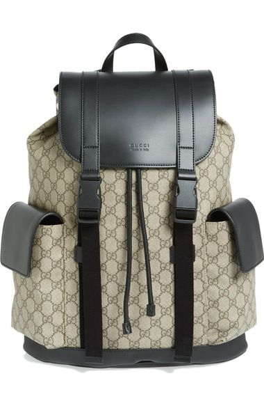 49d5fd77044472 GUCCI Eden Flap Top Canvas Backpack. #gucci #bags #lining #canvas #backpacks  #suede #