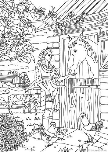 Country Barn | Coloring pages - horses | Pinterest | Refugios ...