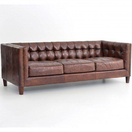 Abbott Leather Sofa, Cigar