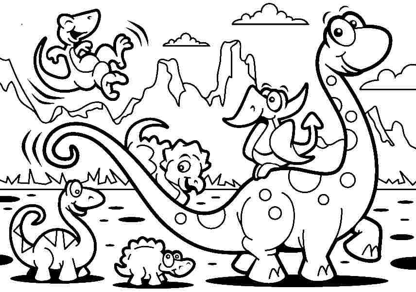 Free Coloring Sheets Animal Cartoon Dinosaurs For Kids Boys