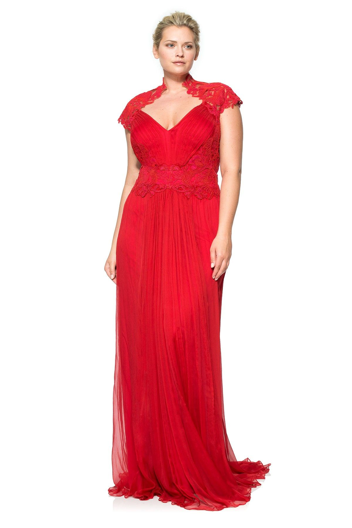 e86aabee362 Corded Embroidery on Tulle Bodice Queen Ann Cap Sleeve Gown - PLUS SIZE