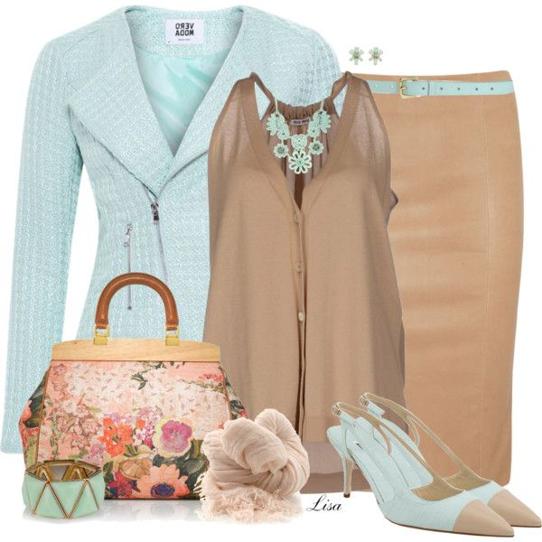 Mint and Beige by lmm2nd on Polyvore featuring Miu Miu, Vero Moda, Drome, Manolo Blahnik, Tory Burch, Haskell, Kate Spade, Botto Giuseppe, Surface To Air and contest