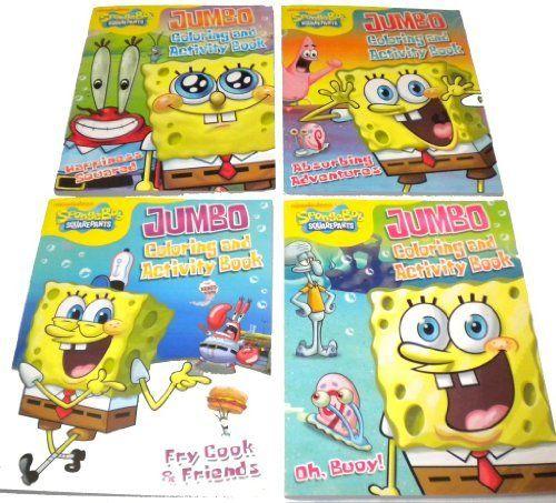 4 sponge bob square pants jumbo coloring activity book free 24pc vivid crayons by