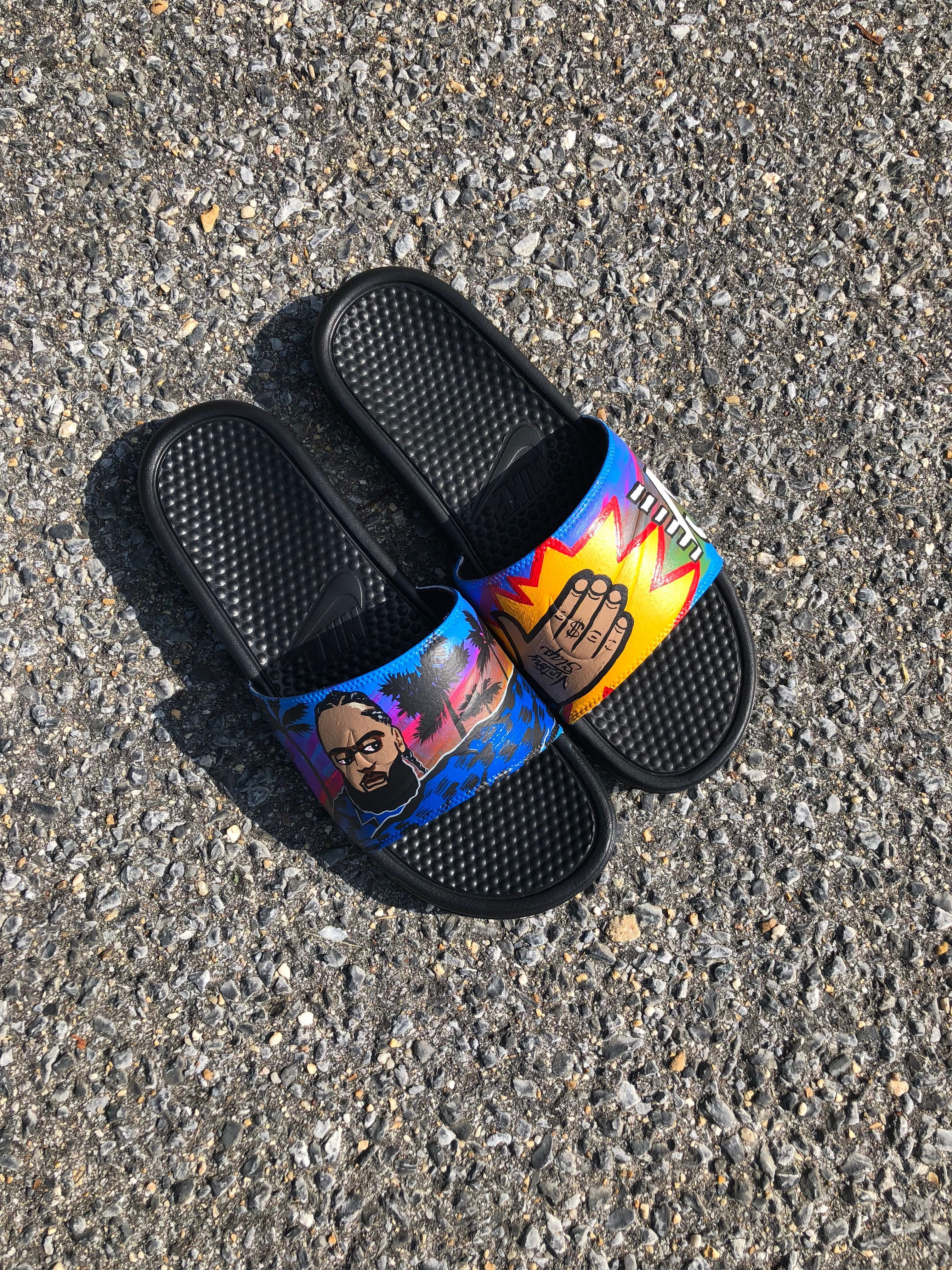 18d017287252 Victory Slap Nike Slides. Hand Painted By Weird Art Society Size 13  100  Flip Flop