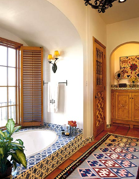 Tile Looks Great On Walls And Floors Whether You Just Use Plain Tiles Or Are Looking To Create A Til Spanish Style Bathrooms Spanish Decor Spanish Style Homes