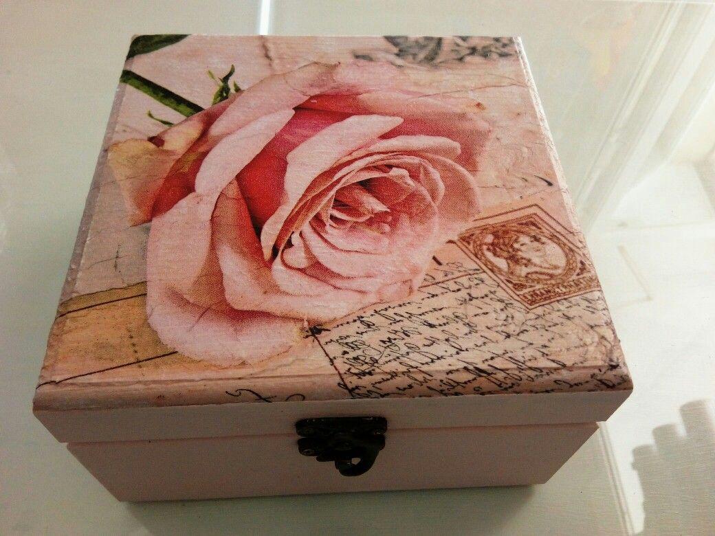 Caja de madera decorada con servilleta y pintada mis - Cajas de madera manualidades ...