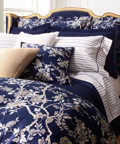 RALPH LAUREN Navy Blue DEAUVILLE Floral BLOSSOM 5PC FULL/QUEEN ...