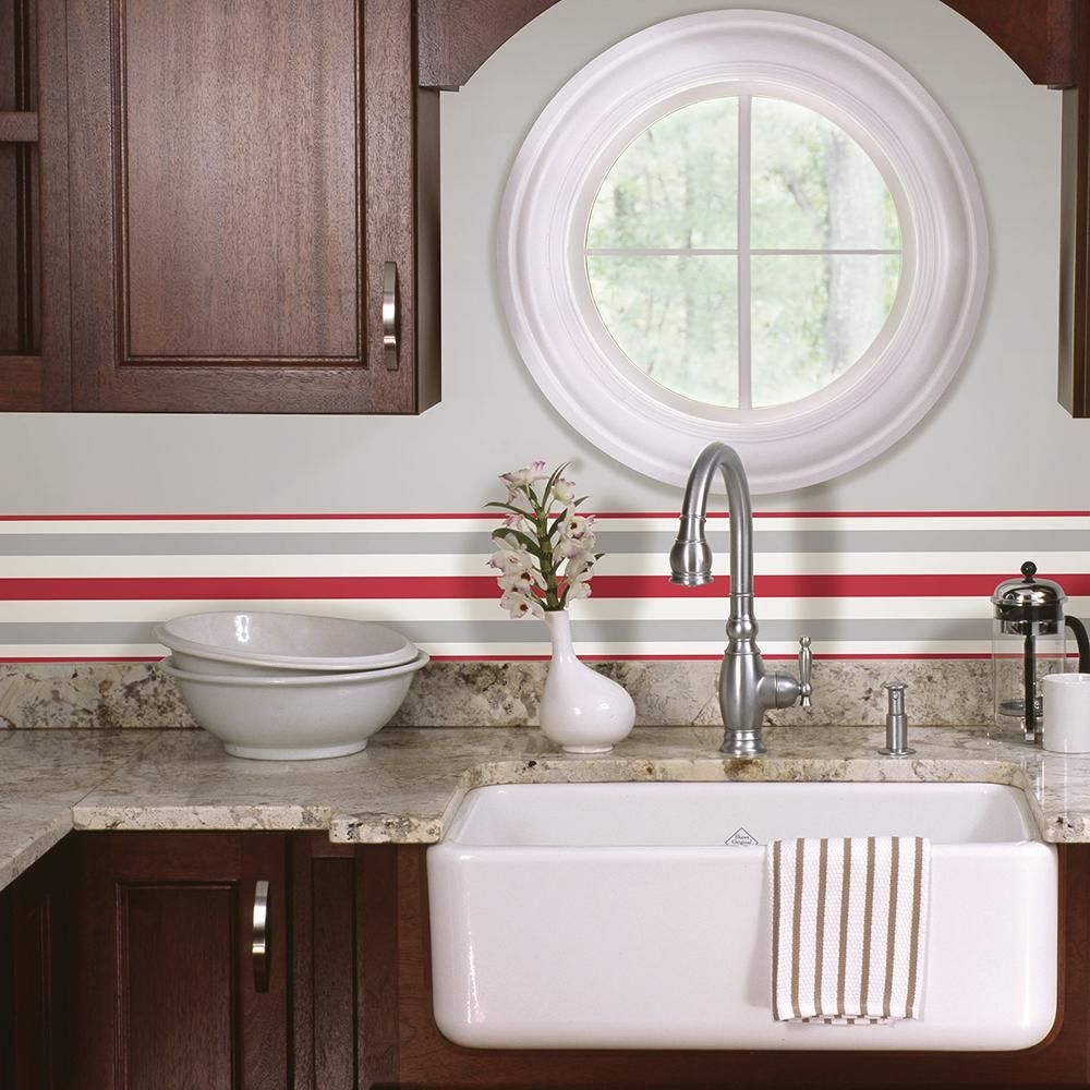 Kitchen wallpaper border  Stripe Peel and Stick Wallpaper Border Red  Products