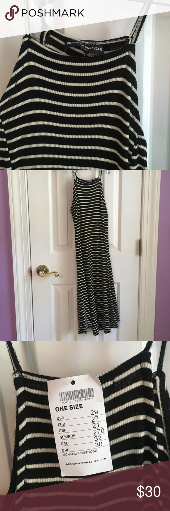 RARE Brandy Melville Striped Dress Never worn! No longer sold online or in stores. Depending on your height, hits around the knee/thigh area. Stretchy material could fit size XS, S, or M Brandy Melville Dresses