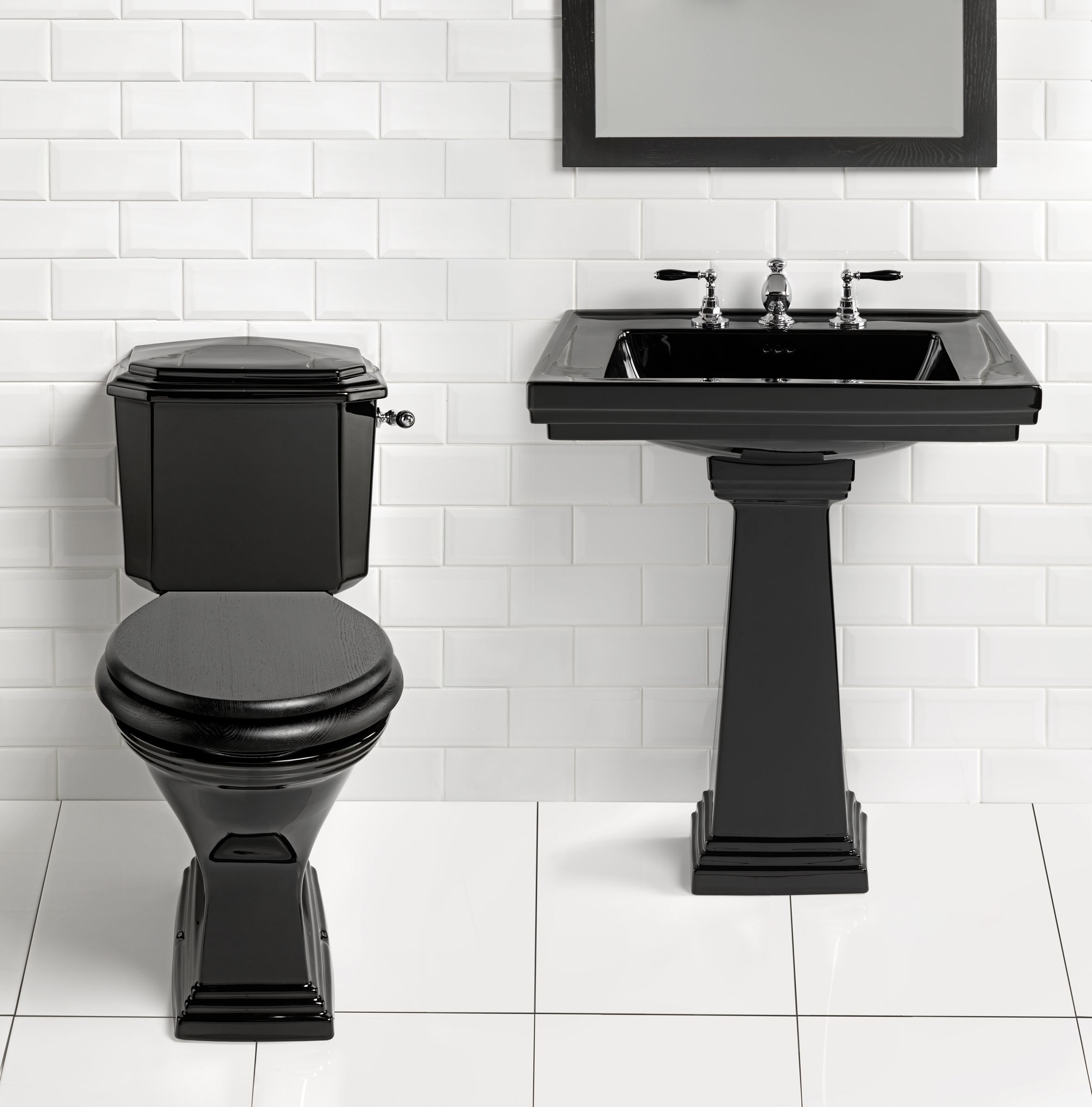 Charmant High Resolution Bathroom Images For Best Home Decoration: Modern Black  Toilet And Pedestal Sink With Bathroom Mirror Also White Subway Tile Walls  For High ...