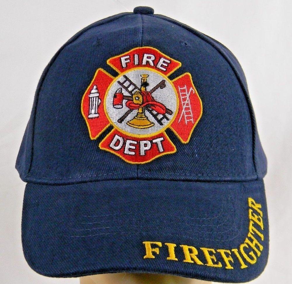 e9eef46b141 Navy Blue Fireman Firefighter Baseball Cap Fire Dept Rescue Shield  Adjustable 883714154524