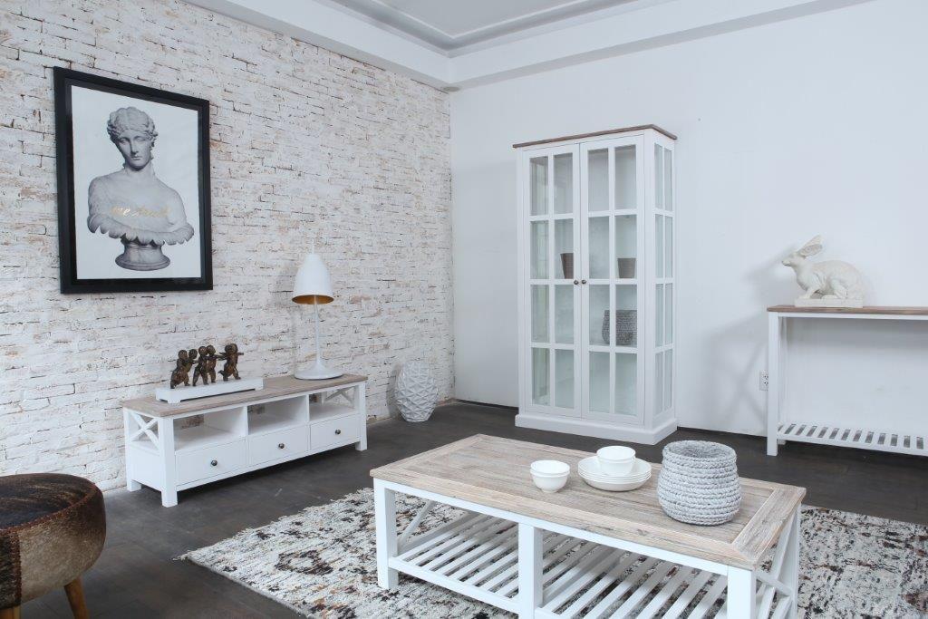 Meubles De Sejour En Bois D Acacia Brosse Et Blanc Milano Mobilier De Salon Meuble Sejour Collection De Meubles