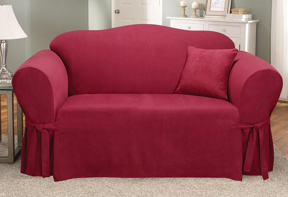 Soft Suede One Piece Sofa Slipcover Relaxed Fit Corner Ties Machine Washable Slipcovers For Chairs Cushions On Sofa Slipcovers