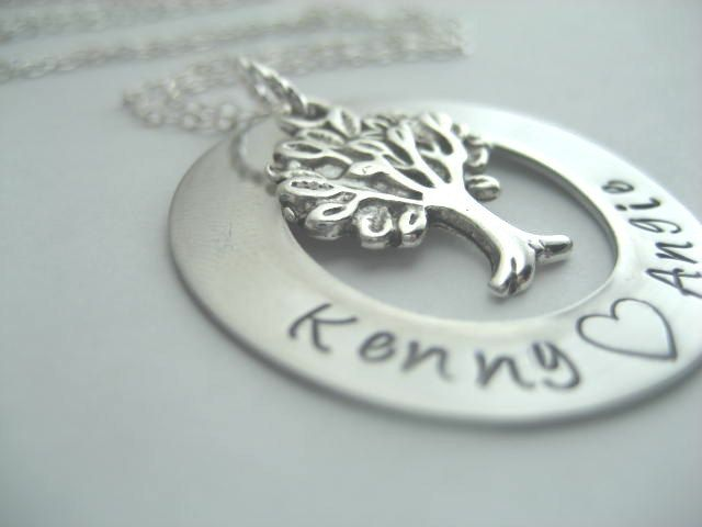 Family tree necklace hand stamped stainless by ajscustomjewelry, $18.00