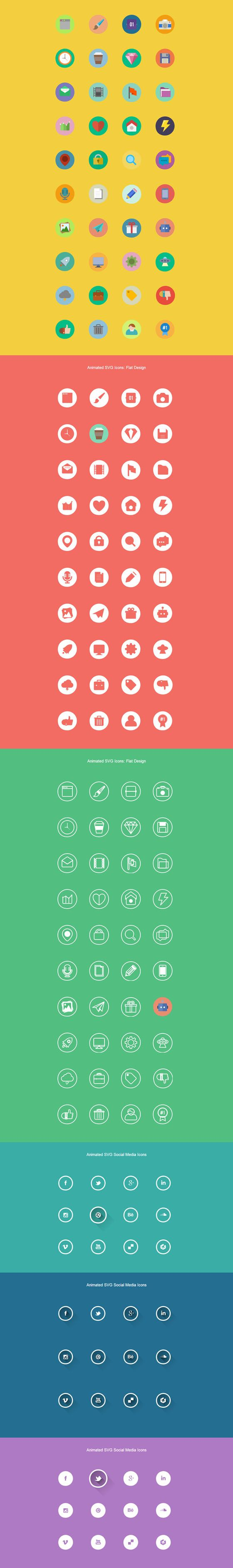 Free Download 150+ Free Animated Flat SVG Icons