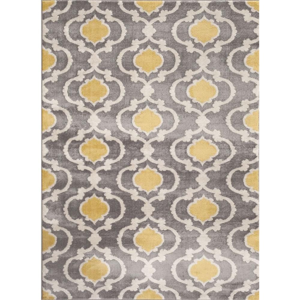 World Rug Gallery Moroccan Trellis Contemporary Gray Yellow 2 Ft