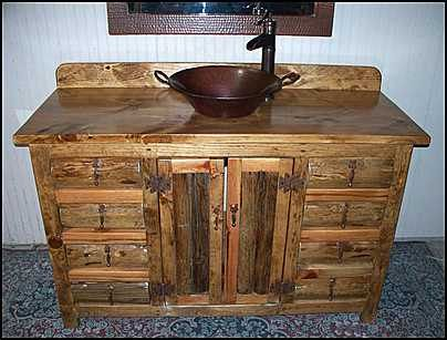 Ms1371 54 S Rustic Log Southwestern Vanity With Copper Vessel Sink And Rustic Bronze Faucet