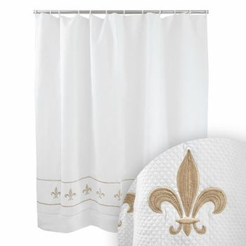 Beige shower curtains jacaranda living beige fleur de lis shower curtain click to enlarge - Fleur de lis shower curtains ...