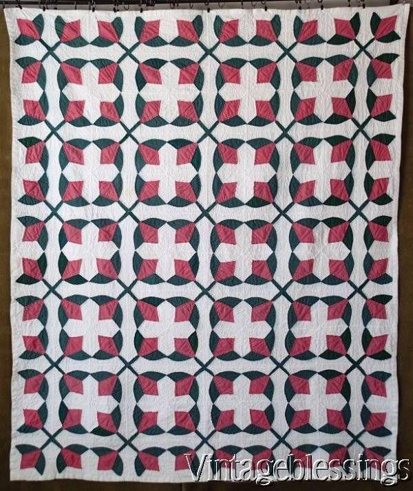 "Graphic Vintage 30s Pink Green White TULIP QUILT 78"" x 64"""