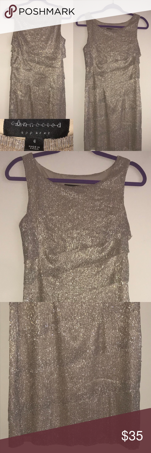 Semiformal dress silver may fit sizes semi formal