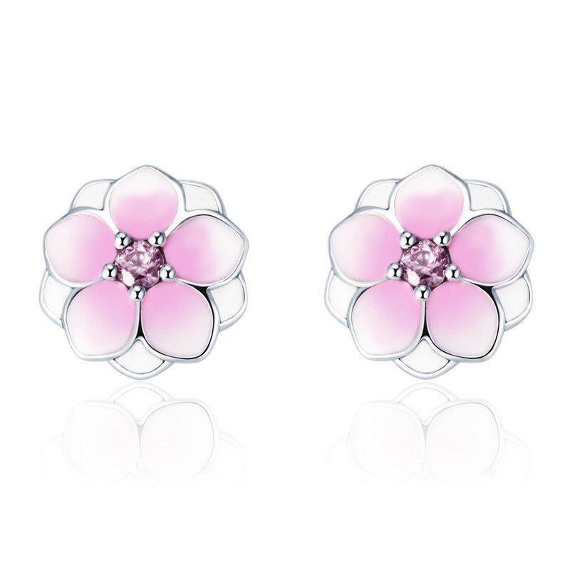 b80af1d31 Delicately 925 Sterling Stud Earrings For Women Pink Floral Magnolia Bloom  Stud