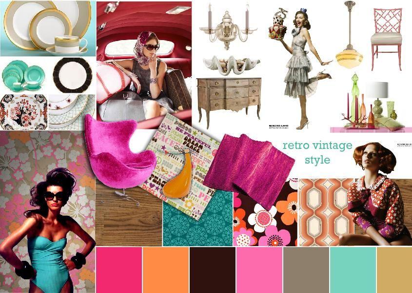 Rosslyn Tebbutt S Retro Vintage Style Moodboard Mood Board Design Interior Design Mood Board Vintage Interior Design
