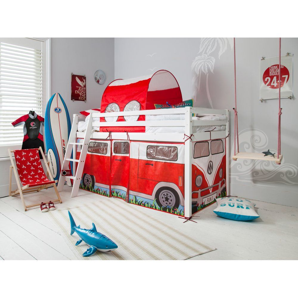 Noa and Nani Tunnel and Tower - White Midsleeper Cabin Bed with Slide and Blue Tent