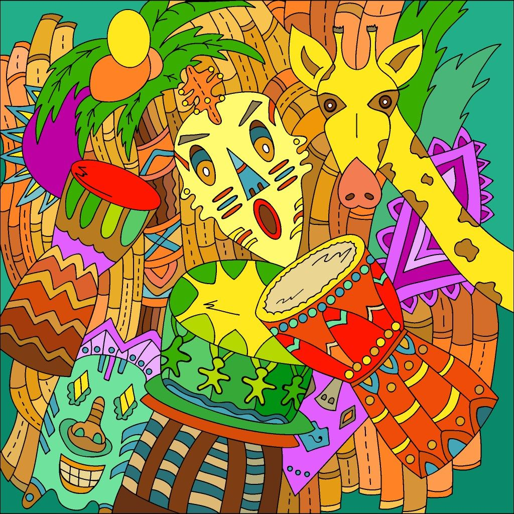 Tribal Totems Colorful Art Coloring Book App Happy Colors