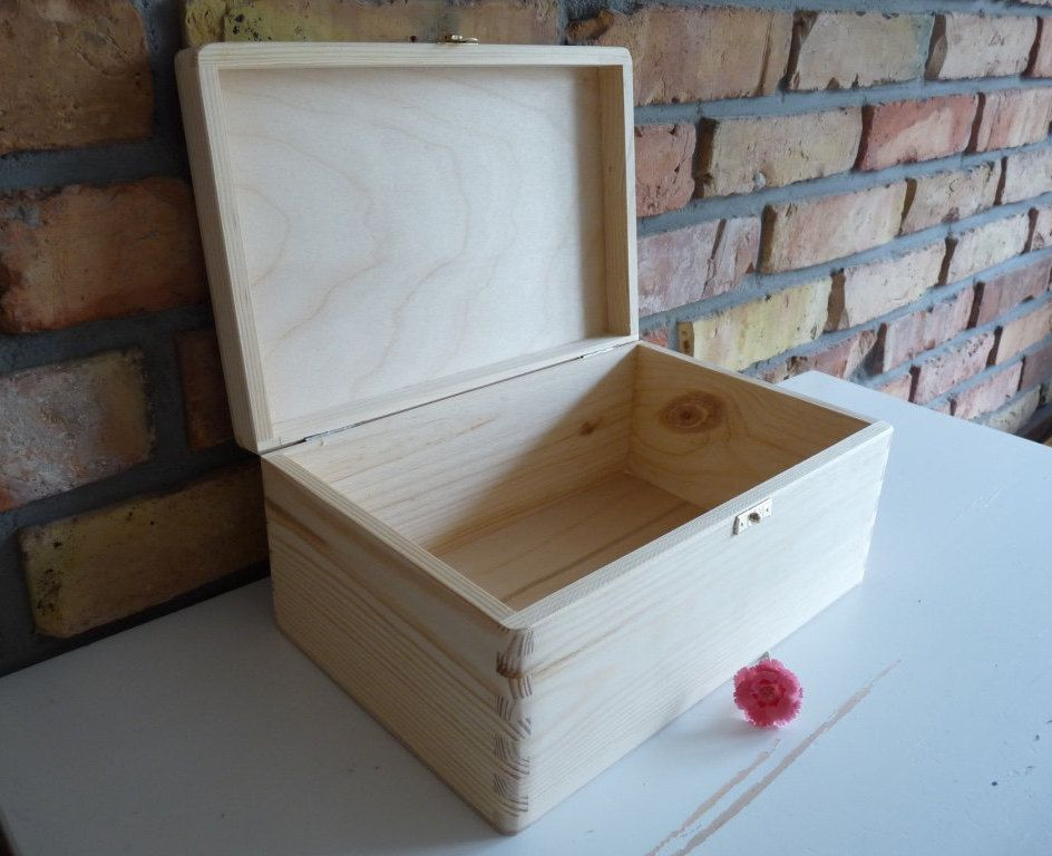 Large Wooden Treasure Chest Box With Hinges Wooden Storage Box Wooden Large Box Unfinished Unpainted Plain Wo Chests Diy Wooden Storage Boxes Wooden Storage