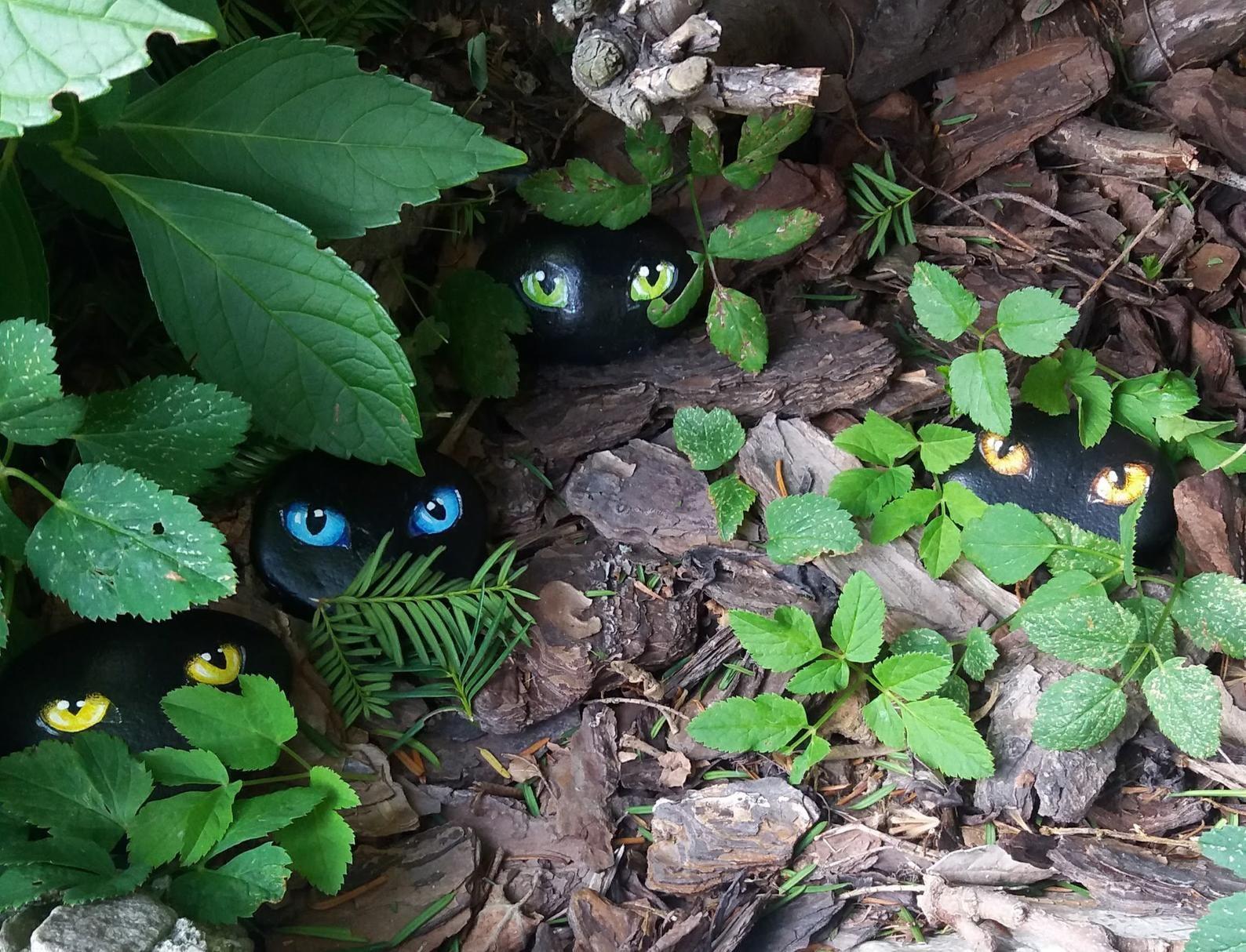 Cat garden art stones | Etsy