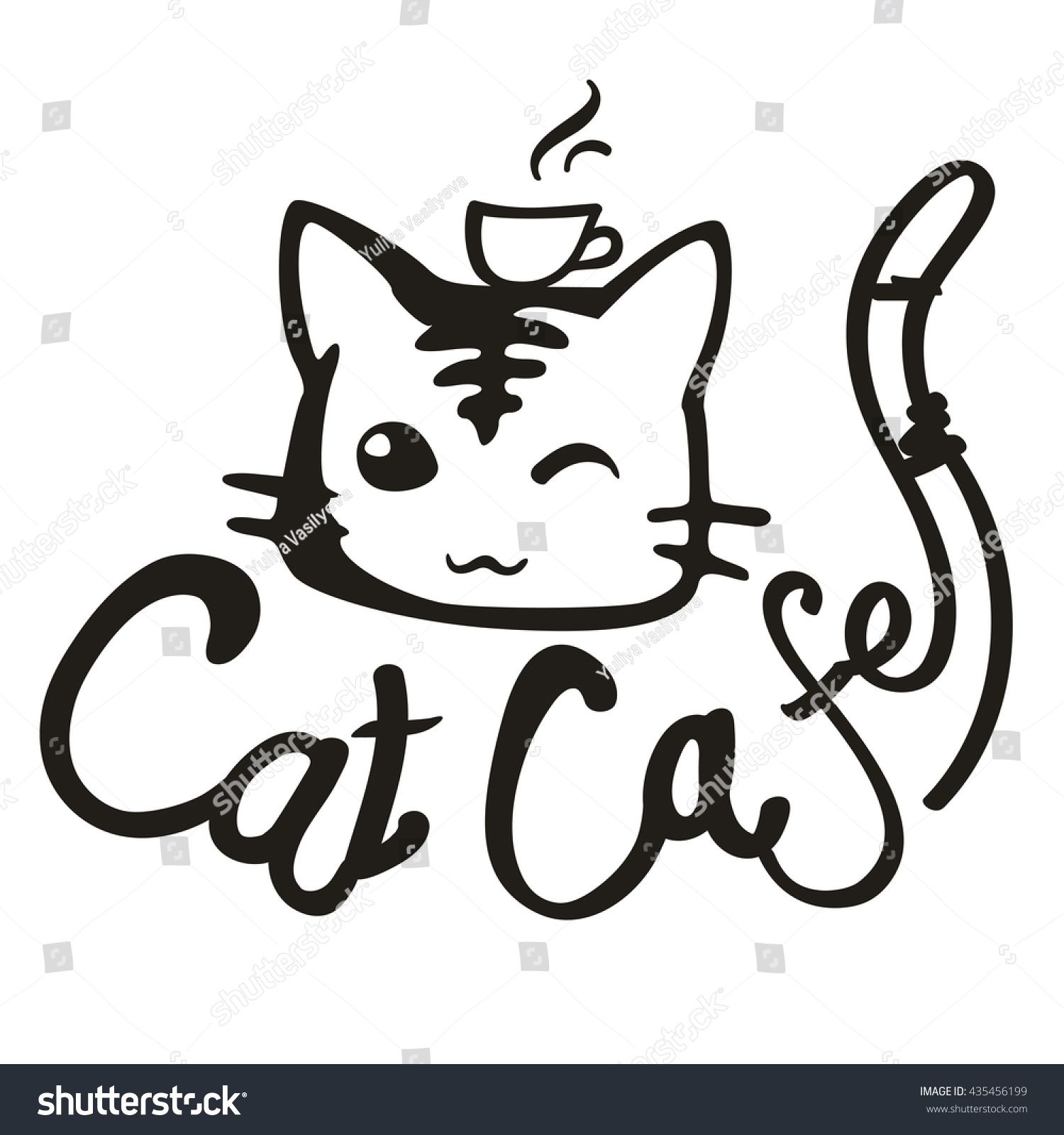 Cat Cafe. Vector handdrawn logo/Linear image muzzle cats