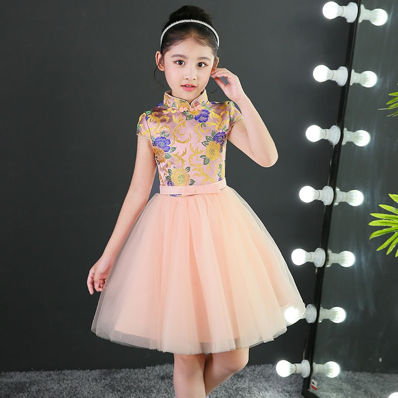2017 Autumn Girls Formal Tutu Dresses Embroidery Floral Chinese